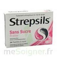 STREPSILS FRAISE SANS SUCRE, pastille édulcorée à l'isomalt, au maltitol et à la saccharine sodique à QUINCAMPOIX