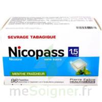 Nicopass 1,5 mg Pastille sans sucre menthe fraîcheur Plq/96 à QUINCAMPOIX
